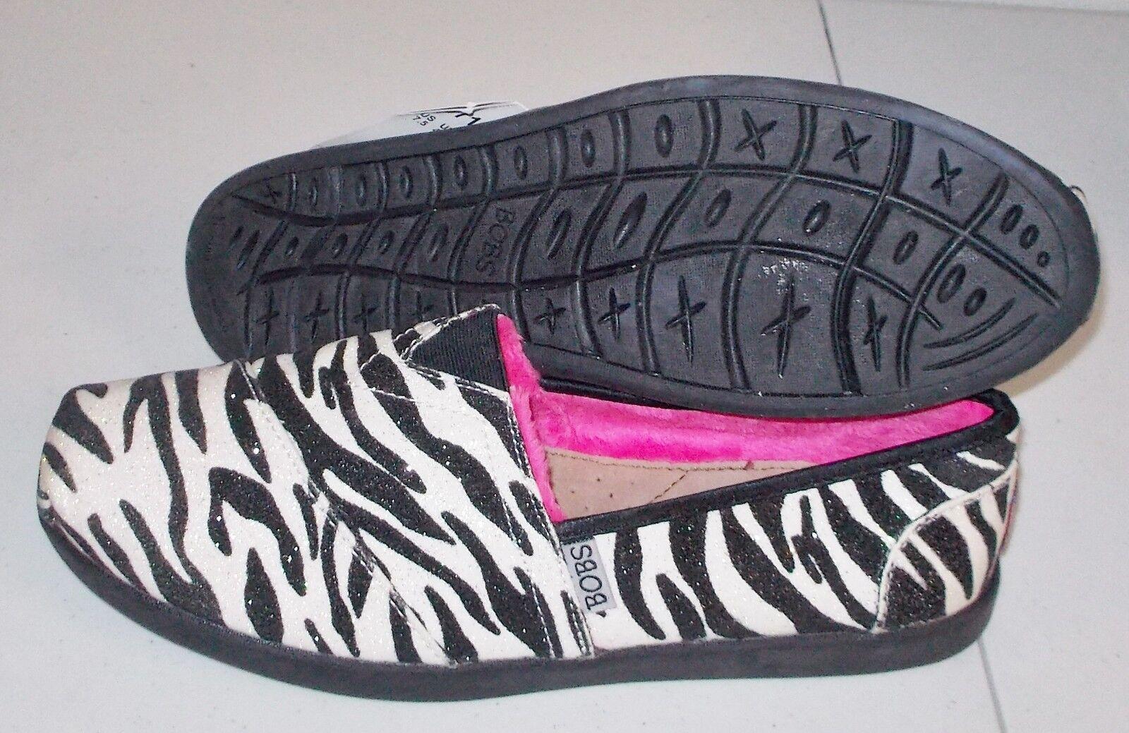 NEW BOBS SKECHERS ZEBRA Print Sparkle Slip on shoes WOMENS bling faux fur NWT