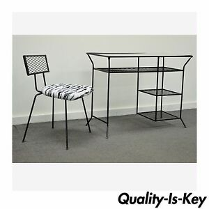 Image Is Loading Vintage Mid Century Modern Wrought Iron Vanity Desk
