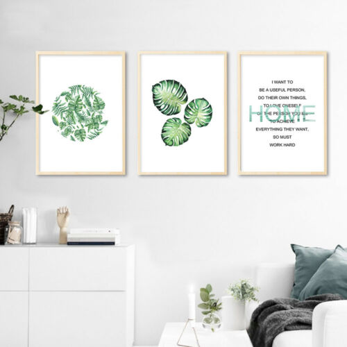 Tropical Plant Leaf Canvas Art Poster Motivational Quote Print Nordic Decoration