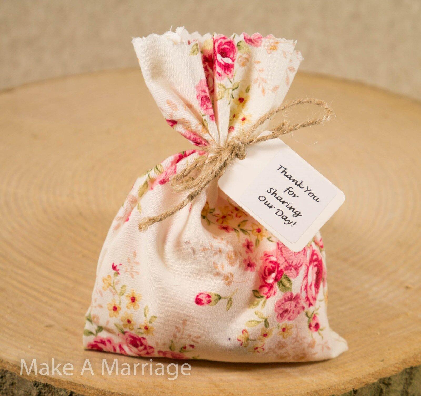 Handmade Mariage Faveurs vintage Sacs Ivoire Rose Floral Rose Shabby Chic 1-100 vintage Faveurs 2f02c6