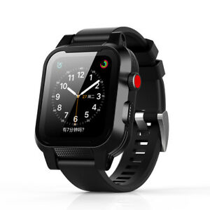 new product 8e312 b112f Details about 38/42mm For Apple Watch Series 3/2 IP68 Waterproof Cover Case  Silicone Soft Band