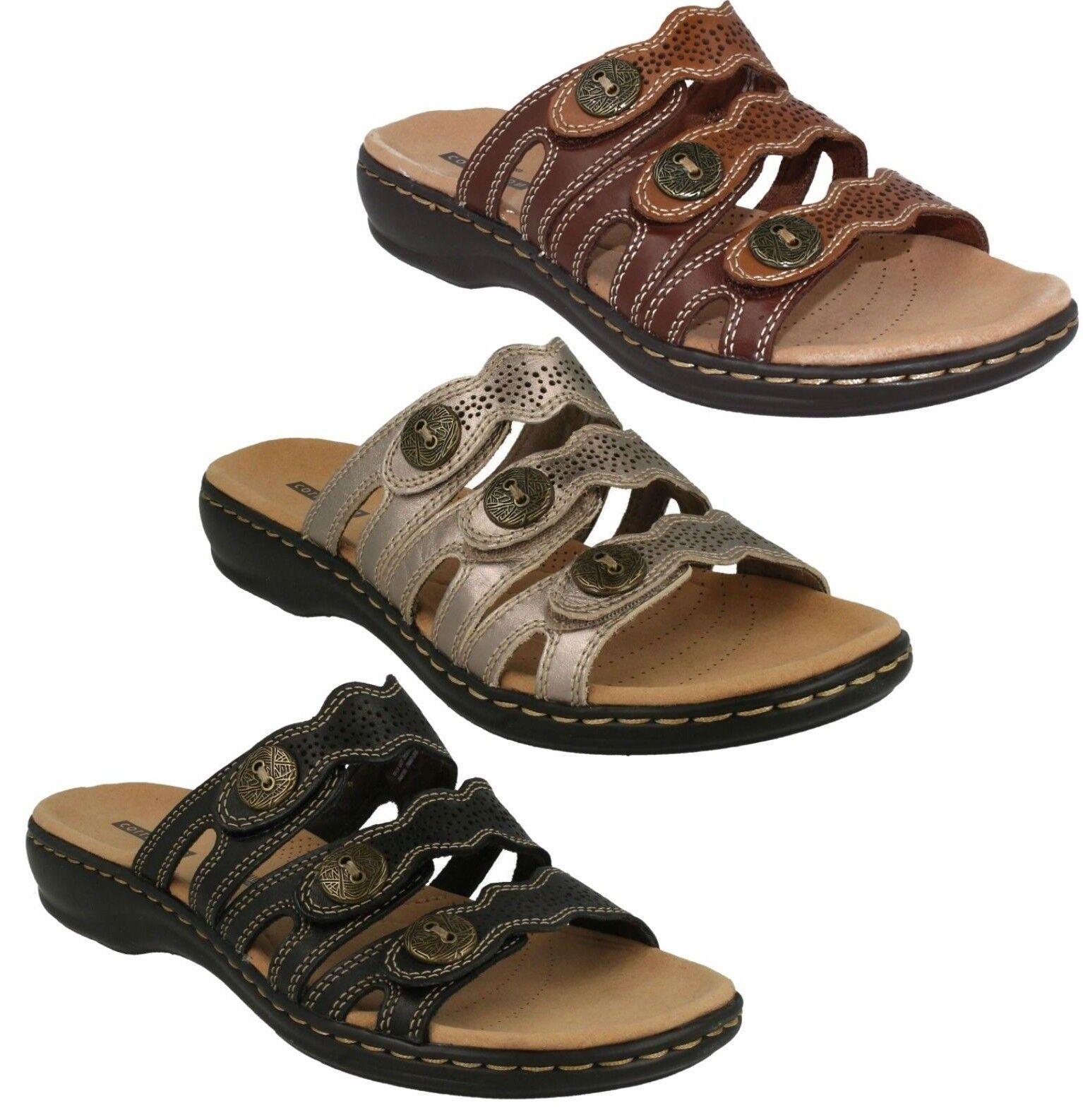 Damen Clarks Leder Slipper Niedriger Absatz Freizeit Sandale Pantoffeln Größe