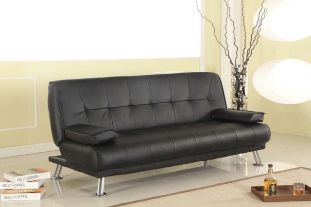Sofa Bed Black Faux Leather Click Clack