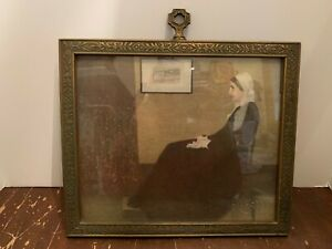 Antique-Ornate-Wooden-Picture-Frame-with-Whistler-039-s-Mother-Print