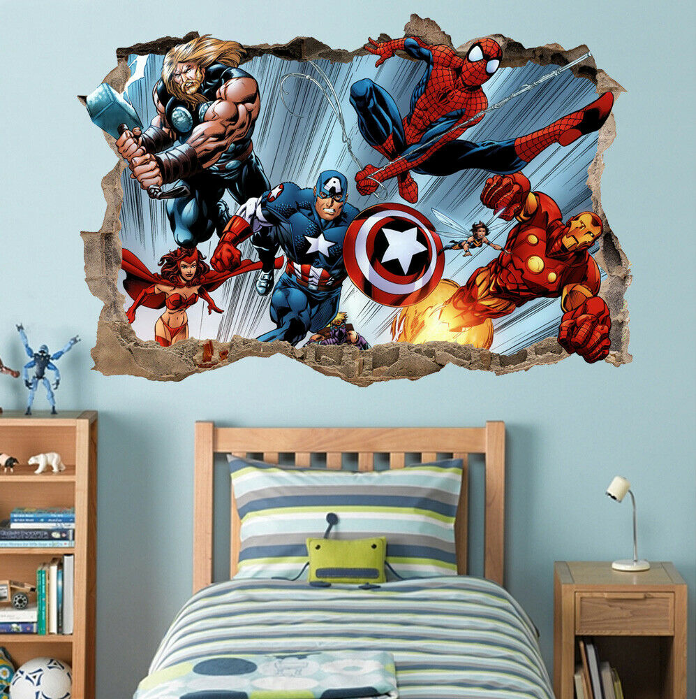 Avengers Hulk Iron Man Thor Smashed Wall Decal Marvel Sticker 3D Art Vinyl AH422