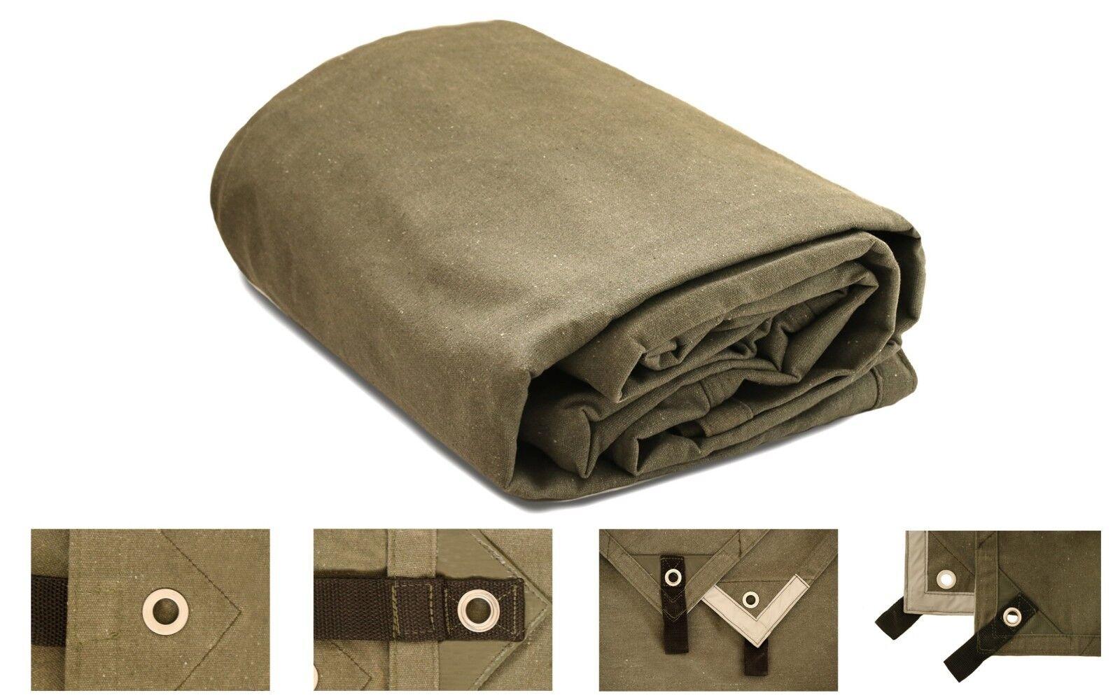 8/' x 20/' Canvas Tarp 2.4X6M Green Cotton Tarpaulin Heavy Duty Waterproof Supply
