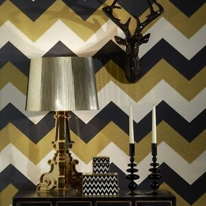 Glitterati White Black And Gold Chevron Wallpaper Paste