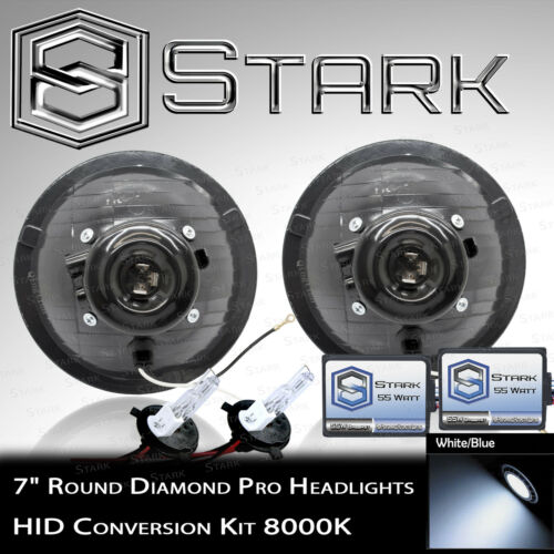"""F H6024 Head Light Glass Housing Lamp Projector Conversion Chrome 7/"""" Round HID"""