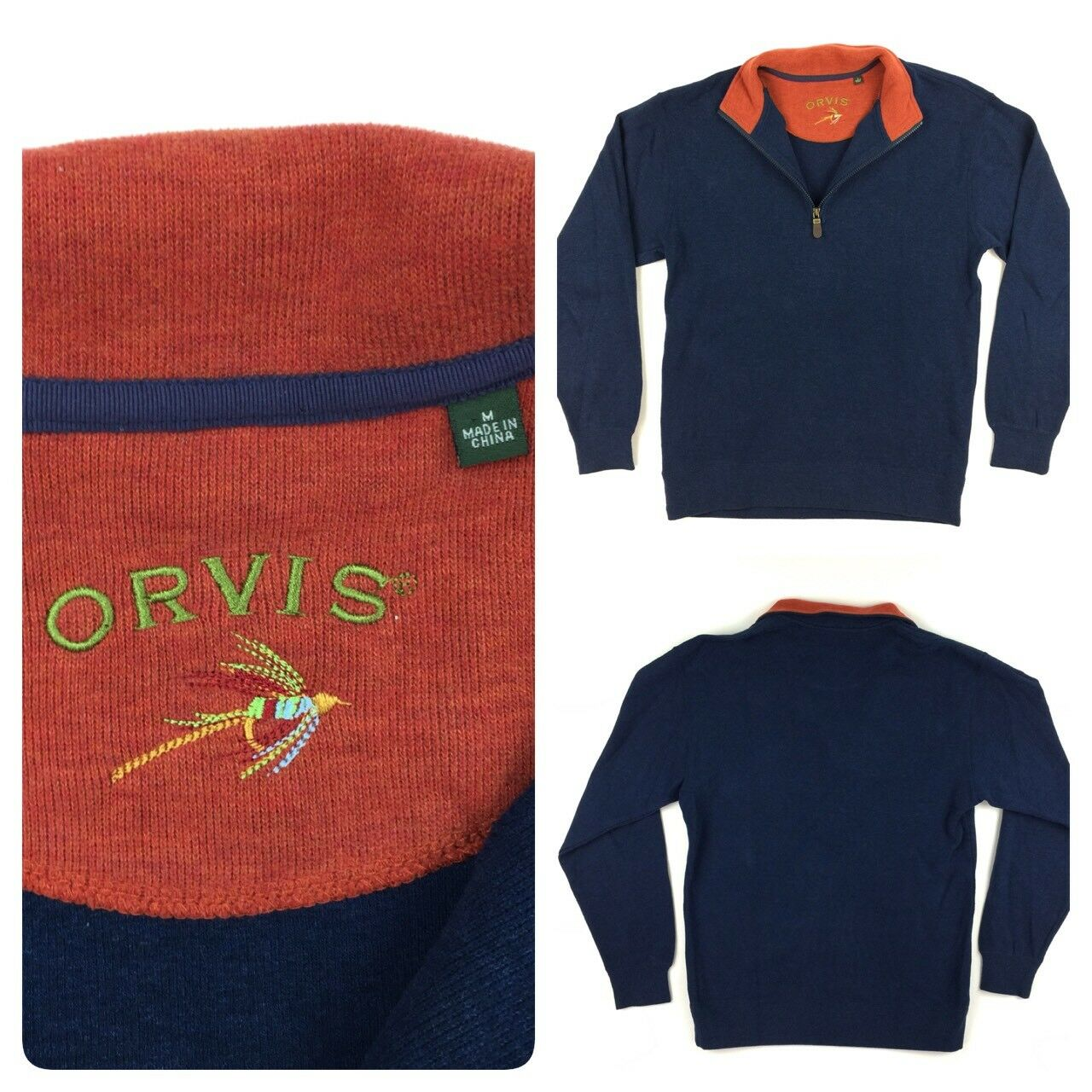 Orvis  Herren Navy / Orange 1/2 Zip Cotton Sweater Medium