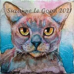 Burmese Cat art painting canvas original watercolour & easel by Suzanne Le Good