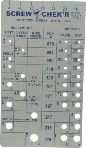 Made in USA M2 to M7mm Stainless Steel Metric Thread Screw Checker 0
