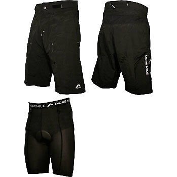 More Mile 2 in 1 Cycling Shorts Padded Baggy Bike Short Black