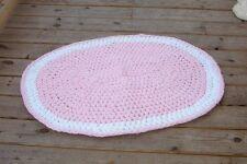 hand crochet throw rug pink white baby nursery girls bedroom shabby cottage chic