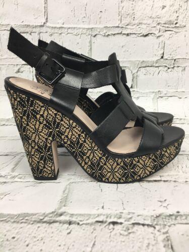Black Plaform Size Leather Block Geiger Heel 7 Sandals Kg Kurt Miss Womens q8RvIww