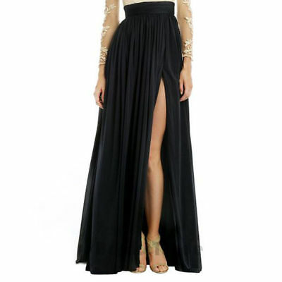 Black Split Skirts Long Maxi Womens Satin Prom Evening Party Celebrity Skirt