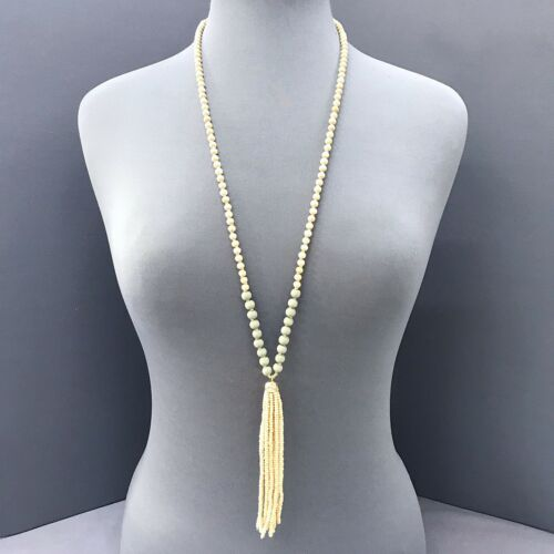 Boho Long Ivory and Light Green Wooden Bead with Beaded Tassel Pendant Necklace