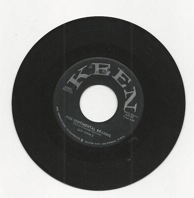 45 RPM RECORD SAM COOKE FOR SENTIMENTAL REASONS / DESIRE ...