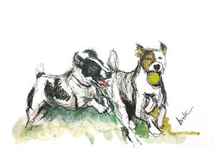 Print-of-Original-ink-amp-watercolour-painting-art-Jack-Russels-playing-dog-design