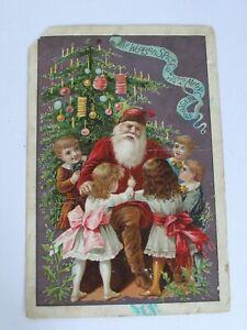 Antique 1890's Victorian Lion Coffee Christmas Trade Card Santa w/ Children