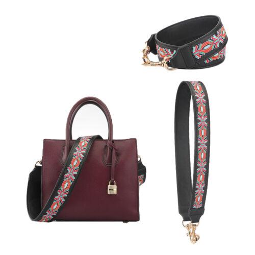 Wide Floral Replacement Leather Shoulder Bag Strap Crossbody Adjustable Handle