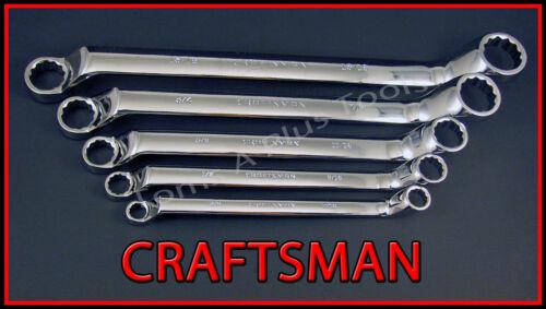 CRAFTSMAN HAND TOOLS 5pc Lot FULL POLISH SAE Deep Offset Box end Wrench set