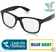 Retro classic black Sunglasses with clear UV400 Protected lens