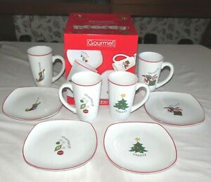 Fitz-amp-Floyd-Gourmet-8-Piece-Set-Latte-Mugs-amp-Plates-Mint