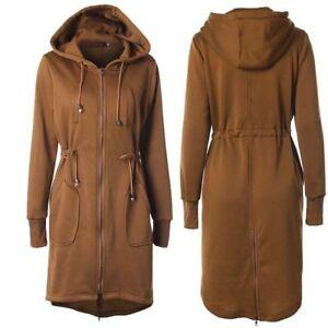 03b844f9a9fe Winter Women s Drawstring Waist Jacket Hoodie Zipper Long Coat Tops ...