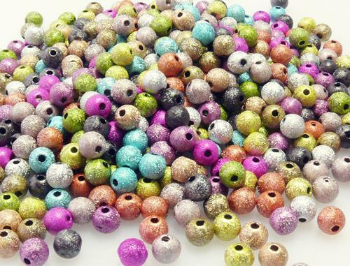 500x perlenmix balles 6mm coloré stardust perles acrylique perles perles mélange 7033