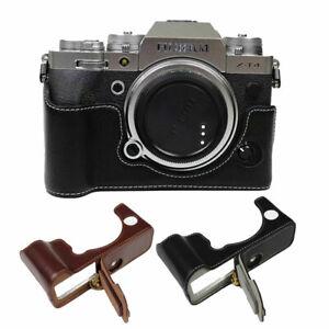 Genuine Leather Camera Bag Half Body Bottom Case For Fuji Fujifilm XT4 X-T4