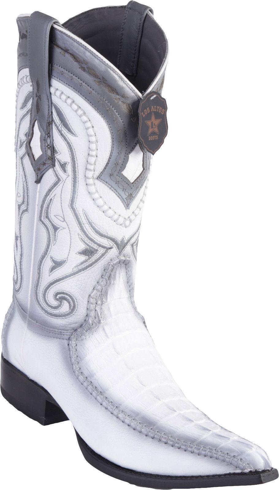 Los Altos Genuine WHITE WHITE WHITE Caiman CROCODILE Tail 3x Toe Western Cowboy Boot EE 753105