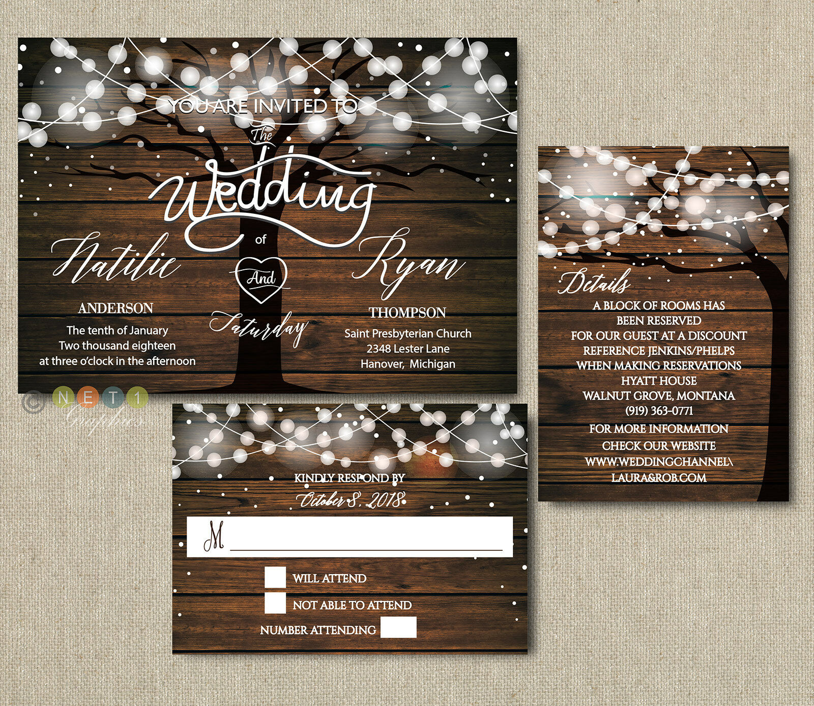 100 Personalized Rustic Tree String Lights Wedding Invitations with Envelopes