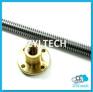 1 2 10 Single Start Acme Threaded Rod Lead Screw W Brass Nut 12 24 36 48 Ebay