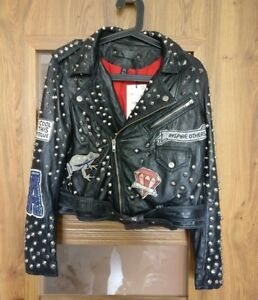 308092a8 Zara New Leather studded biker jacket patches Sold Out RARE 6098/221 ...