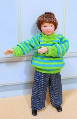 Dollhouse Miniature  Porcelain Dressed Boy Doll In Green Strip Shirt