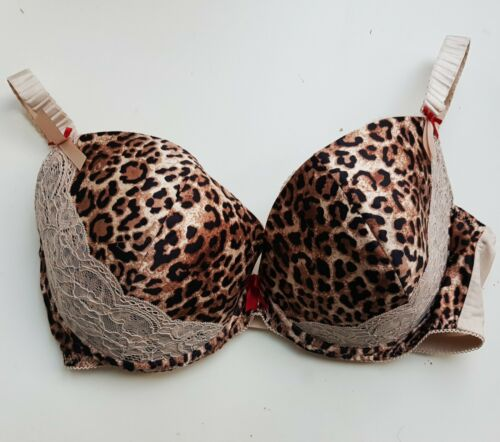 SEXY M/&S LIMITED Satin Plunge BRA Animal Leopard Print Lace £16 Womens PLUS ms