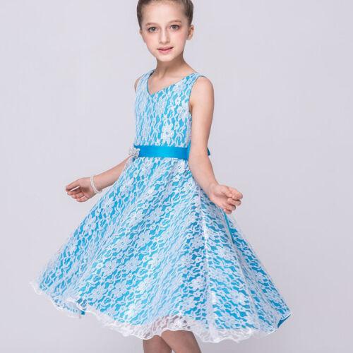 Kinder Mädchen Abendkleid Blumenmädchen Tüll Festkleid Hochzeit Party Kleider DE