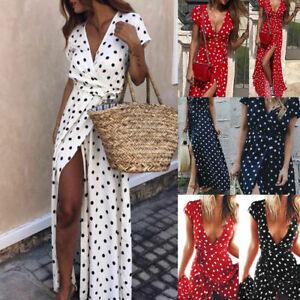 Boho-Women-Summer-Holiday-Polka-Dot-Maxi-Dress-V-Neck-Long-Shirt-Dress-Size-6-22
