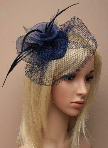 Navy Blue Feather Net Hair Fascinator Beak Clip Hair Clip Hat Races Wedding UK
