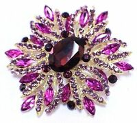 Purple Floral Flower Inspired Xl Rhinestone Bling Brooch Hat Lapel Pin Br200