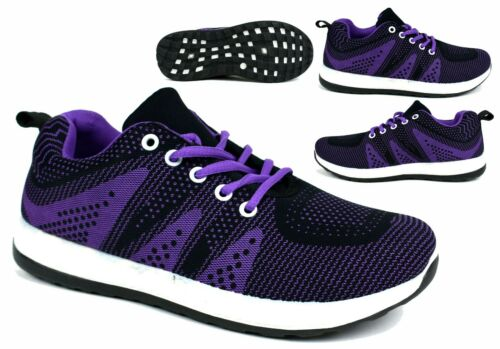 Ladies New Lace Up Purple Comfy Light Weight Running Pumps Trainer UK Size