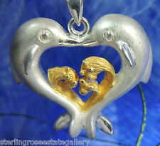 """Two Lovers Dolphin Heart Vermeil & Sterling Silver 0.925 Estate 18"""" Necklace"""