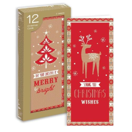 10 or 12 PACK PORTRAIT LUXURY CHRISTMAS CARD TRADITIONAL XMAS NORDIC Penguin