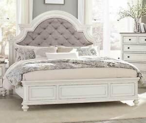 Details about BUTTON TUFTED GRAY PLEATED ANTIQUE WHITE FINISH QUEEN BED  BEDROOM FURNITURE