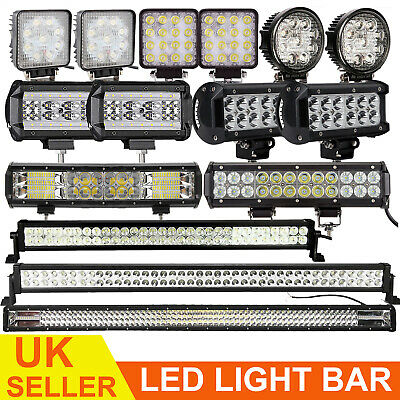 LED 12V Work Roof Lights Bar Flood Spot Beam Driving Lamps for Offroad SUV Truck