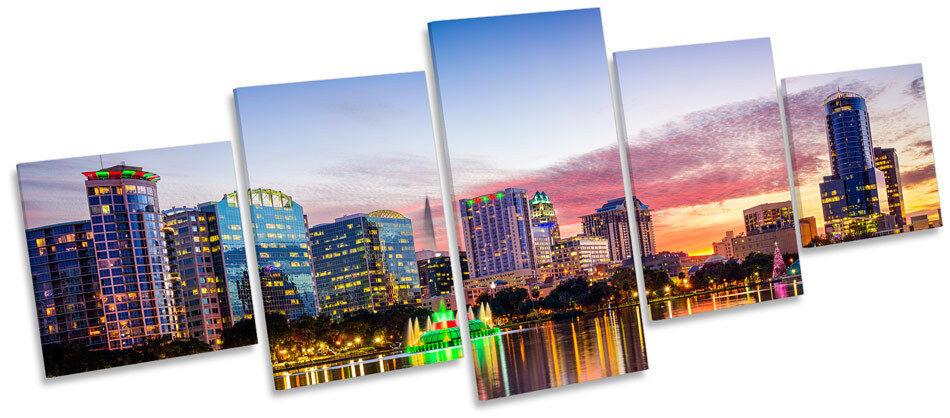 Orlando Florida Skyline Sunset MULTI CANVAS WALL ART Print Box Frame