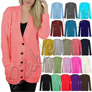 Womens-Cable-Knit-Chunky-Ladies-Grandad-Boyfriend-Pocket-Button-up-Top-Cardigan