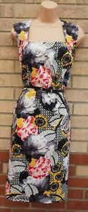 M-amp-CO-BLACK-GREY-WHITE-PINK-FLORAL-BELTED-BODYCON-PENCIL-MIDI-TEA-DRESS-20