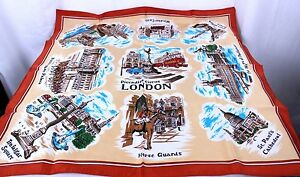 Vintage-1970s-LONDON-Tourist-Souvenir-Scarf-9-World-Famous-Landmarks-26-x-26-034
