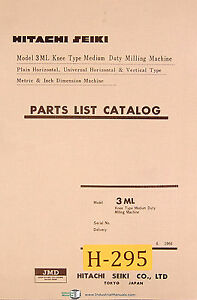 hitachi seiki 3ml milling machine parts list manual 1966 ebay rh ebay com hitachi seiki vs40 manual hitachi seiki vs40 manual